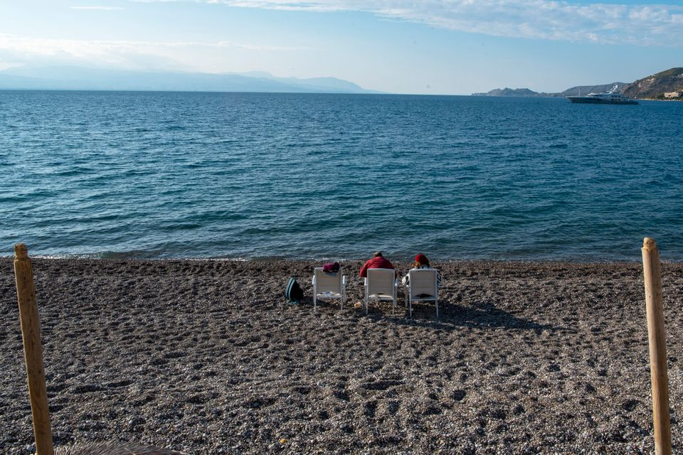 A nearly empty beach during the second lockdown of the country on November 12, 2020 in Loutraski, Greece....