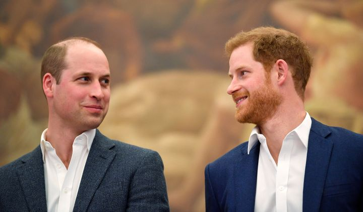 Prince William and Prince Harry attend the opening of the Greenhouse Sports Centre on April 26, 2018, in London.