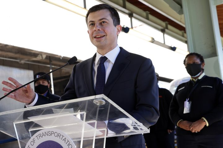 Secretary of Transportation Pete Buttigieg speaks to Amtrak employees during a visit to Union Station in Washington, D.C., in