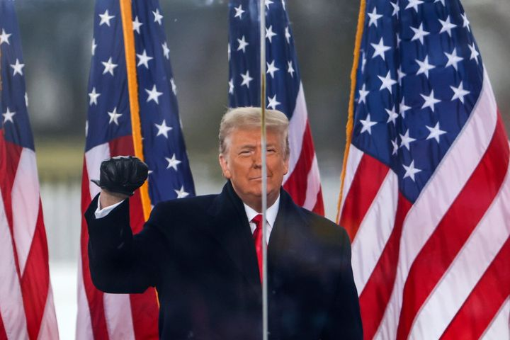 """President Donald Trump speaks at the Jan. 6 """"Stop the Steal"""" rally that preceded the storming of the Capitol."""