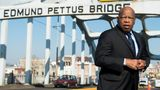 Rep. John Lewis (D-Ga.) stands on the Edmund Pettus Bridge in Selma, Alabama, on Feb. 14, 2015. Lewis was beaten by police on the bridge on Bloody Sunday, on March 7, 1965, during an attempted march for voting rights from Selma to Montgomery.