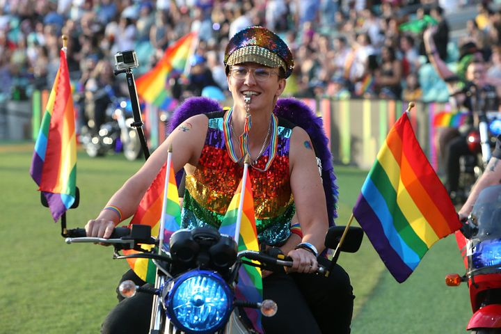 Dykes on Bikes parade around the SCG during the 43rd Sydney Gay and Lesbian Mardi Gras Parade on March 06, 2021 in Sydney, Australia.