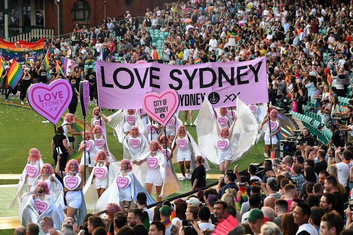 The City of Sydney float at the 43rd Sydney Gay and Lesbian Mardi Gras Parade at the SCG on March 06, 2021 in Sydney, Australia.