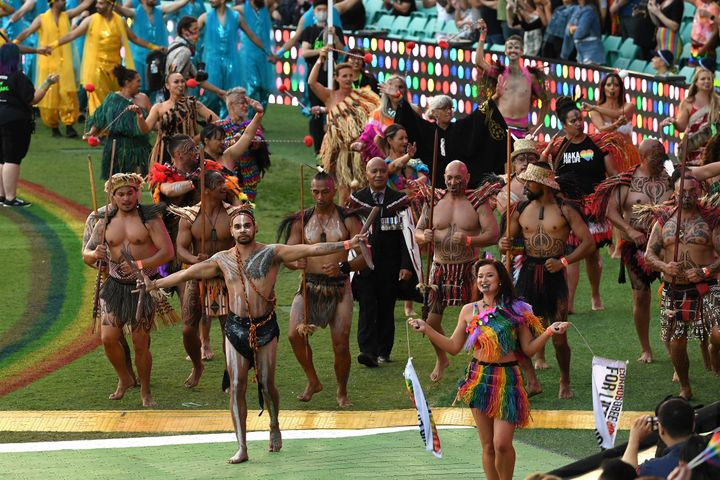 Haka For Life and Corroboree for Life at the 43rd Sydney Gay and Lesbian Mardi Gras Parade at the SCG on March 06, 2021 in Sydney, Australia.