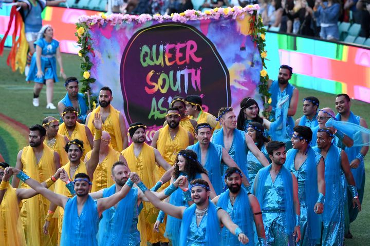 Trikone Australia which empowers queer South Asians at the 43rd Sydney Gay and Lesbian Mardi Gras Parade at the SCG on March 06, 2021 in Sydney, Australia.