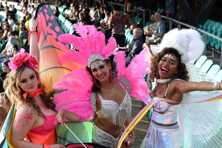 Spectators enjoy the atmosphere from the stands during the 43rd Sydney Gay and Lesbian Mardi Gras Parade at the SCG on March 06, 2021 in Sydney, Australia.