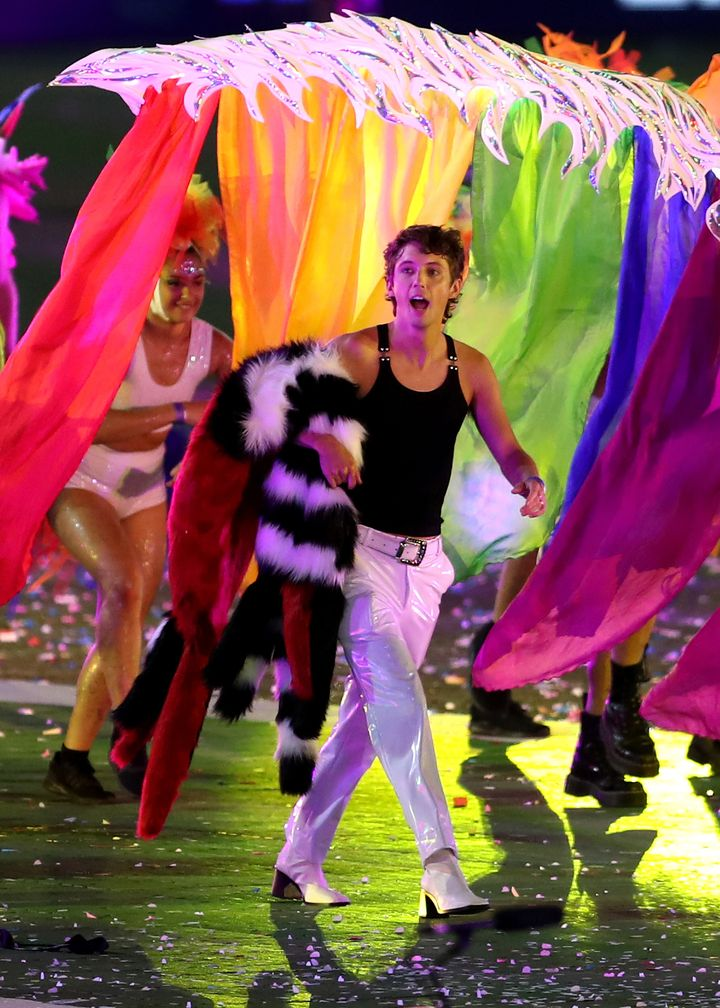 Troye Sivan takes part during the 43rd Sydney Gay and Lesbian Mardi Gras Parade at the SCG on March 06, 2021 in Sydney, Australia.