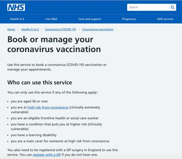 A screenshot of the NHS Covid-19 vaccine booking