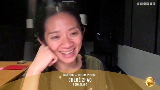 Chloé Zhao lors de la cérémonie des Golden Globes qui s'est tenue en visioconférence,...