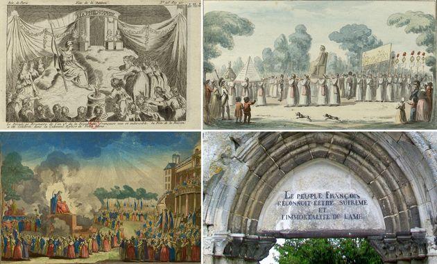 Επάνω: Αριστερά, η «Γιορτή της Λογικής» της 10/11/1793 στην Notre Dame (Πηγή: BNF) και δεξιά , η περιφορά...