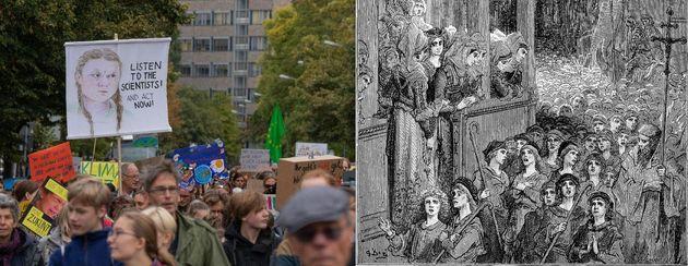 Αριστερά: «Παρασκευή για το Μέλλον», Πότσνταμ 20/9/2019 (Πηγή: Fridays For Future Potsdam, CC BY-SA 2.0)....