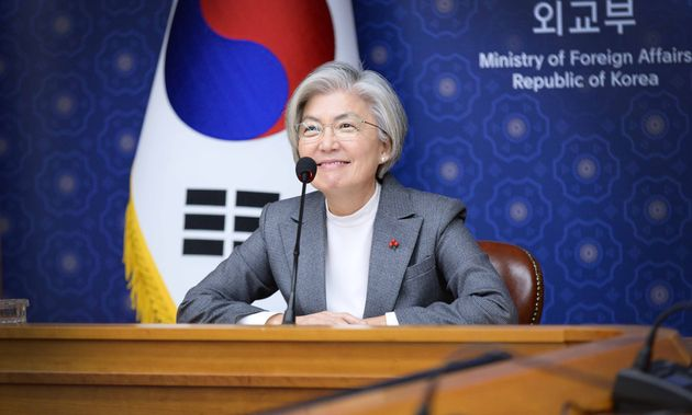 강경화 외교부 정관이 지난 29일 화상으로 열린 세계경제포럼(WEF) '다보스 어젠다 주간 고위급 회의'에 참석해 발언하고 있다.
