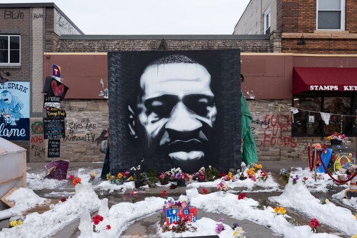 A mural of George Floyd at the intersection of 38th Street and Chicago Avenue S. in Minneapolis, United States, on January 18