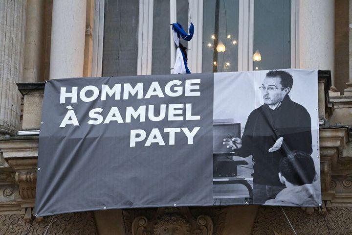 Une banderole hommage à Samuel Paty à Montpellier le 21 octobre 2020.