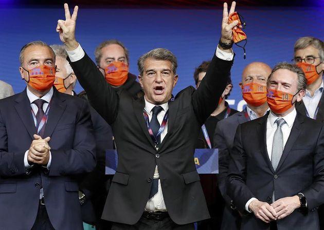 Joan Laporta celebra su victoria tras ser elegido como nuevo presidente del club