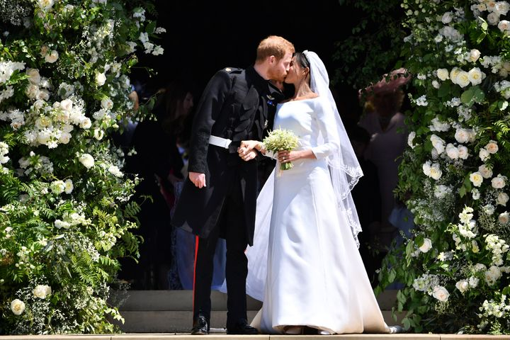 Prince Harry and Meghan Markle on their official wedding day on May 19, 2018. They actually got married three days earlier.