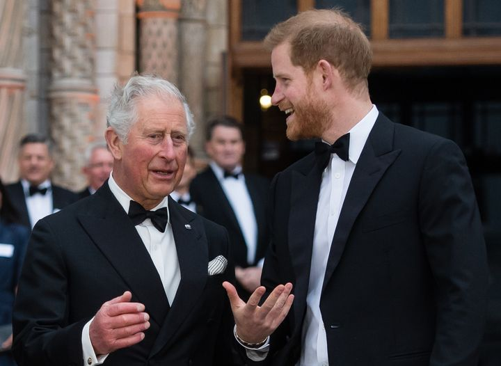 """Prince Harry with his father, Prince Charles at the """"Our Planet"""" global premiere at the Natural History Museum April 4, 2019"""