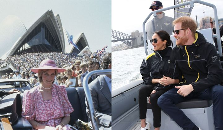 Princess Diana in Sydney in 1983 and Meghan Markle and Prince Harry on Sydney Harbour in 2018