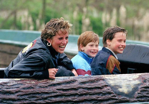 Diana pictured with Harry and William in