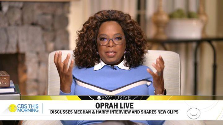 Oprah Winfrey en entrevue &agrave; <i>This Morning</i> sur les ondes de CBS, lundi le 8 mars.&nbsp;