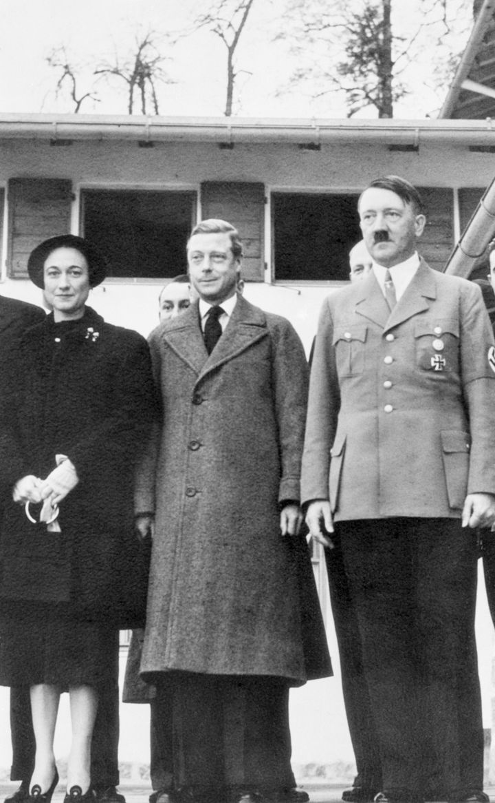Adolf Hitler with the Duke and Duchess of Windsor on a visit to the German dictator's Bavarian alpine retreat