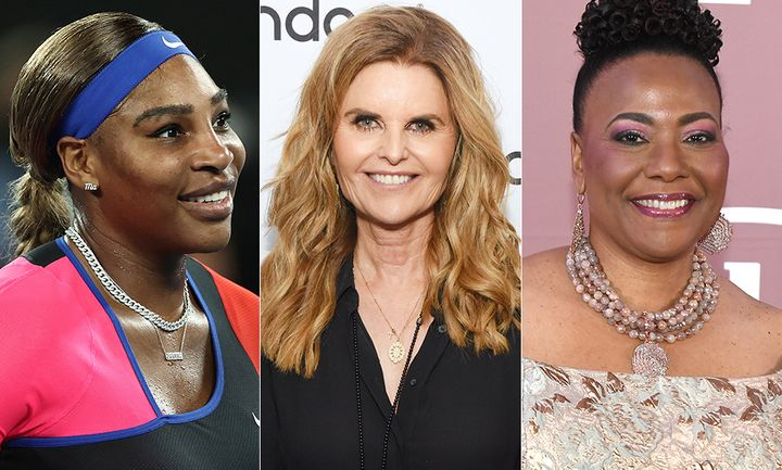 From left: Serena Williams, Maria Shriver and Bernice King are among the celebrities who have shared their support for the Duke and Duchess of Sussex.