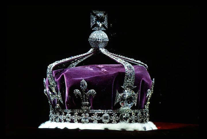 The crown Of Queen Elizabeth the Queen Mother made of platinum and containing the famous Koh-i-noor diamond along with other gems