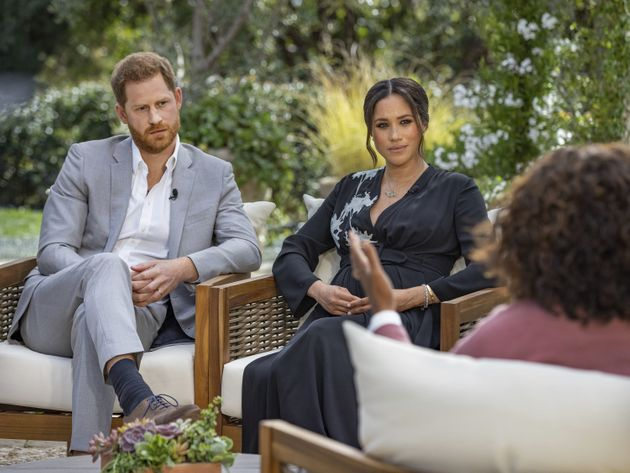 Handout photo supplied by Harpo Productions showing the Duke and Duchess of Sussex during their interview...