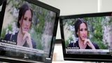 Australian television news in Sydney on March 8, 2021, reports on an interview of The Duke and Duchess of Sussex by Oprah Winfrey.
