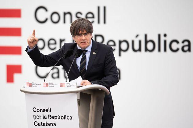 Carles Puigdemont, el 29 de febrero de 2020, en un acto del Consell per la República