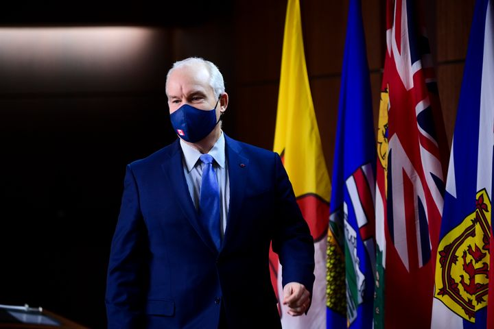 Conservative Party leader Erin O'Toole leaves a press conference in Ottawa on Feb. 16, 2021.