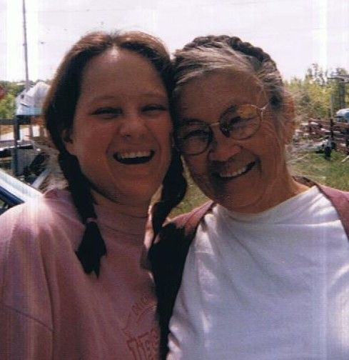 The writer, left, and her grandmother.