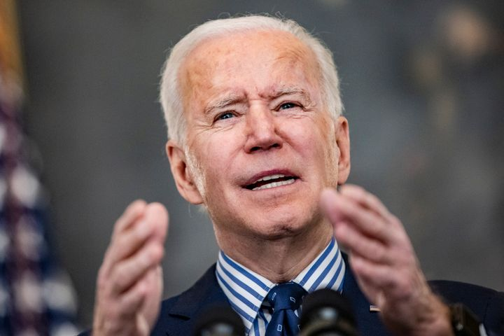 President Joe Biden speaks following the passage of the American Rescue Plan in the Senate on Saturday. The Senate passed the
