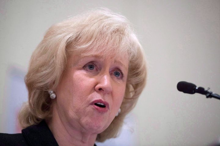 Former Canadian prime minister Kim Campbell addresses the Canadian Club in downtown Vancouver on April 22, 2015.