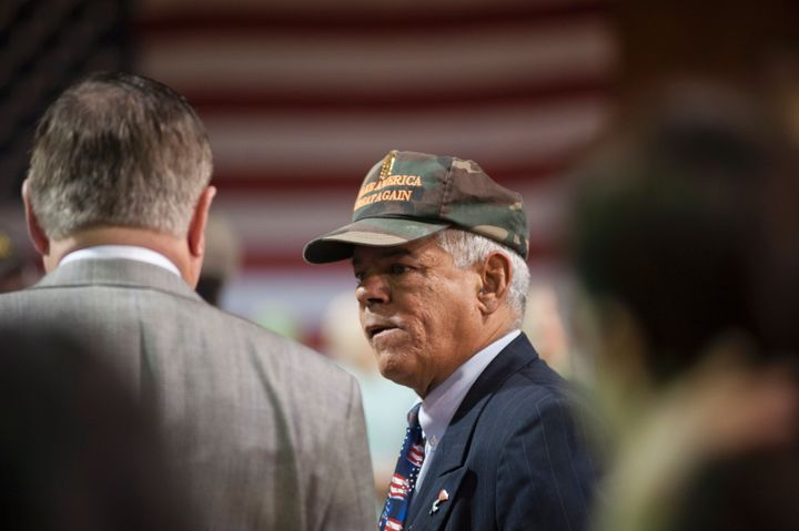 New Hampshire state Rep. Al Baldasaro talks to supporters of Republican presidential nominee Donald Trump before he speaks during a campaign rally, Oct. 28, 2016, in Manchester, New Hampshire.