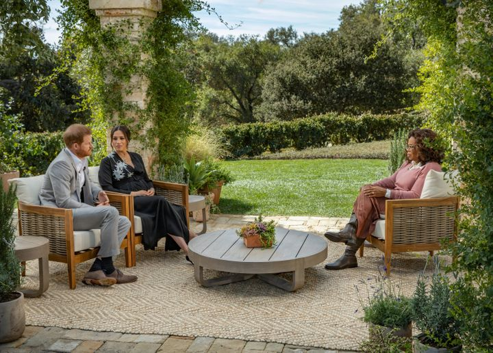 Oprah Winfrey interviews Prince Harry and Meghan Markle on CBS, March 7, 2021.
