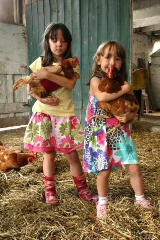 Christen Shepherd's daughters with their rescue hens