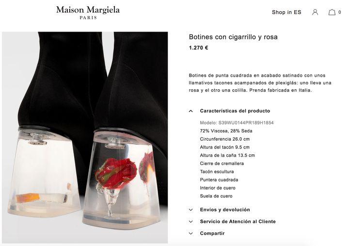 Imagen de la web de Maison Margiela.