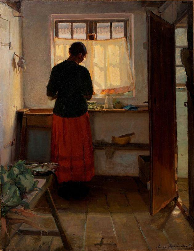 Cuadro 'The maid in the kitchen', de Anna Ancher