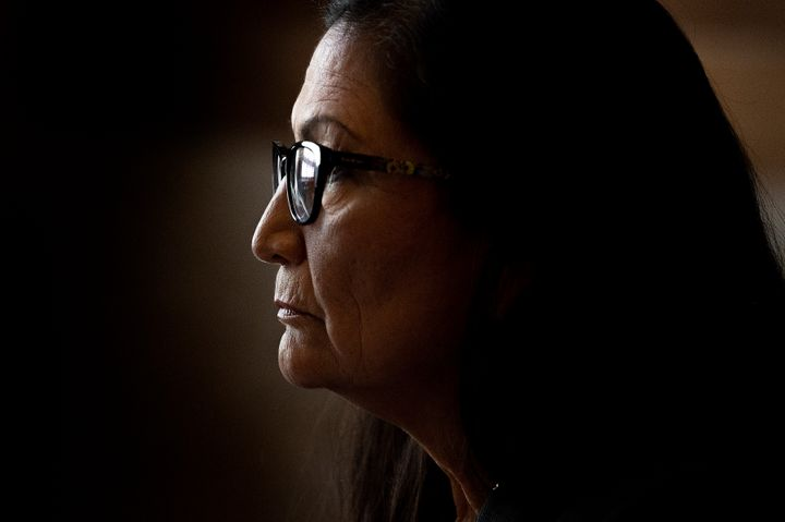 Rep. Deb Haaland (D-N.M.) speaks during a Senate Energy and Natural Resources Committee hearing on Feb. 23 on her nomination