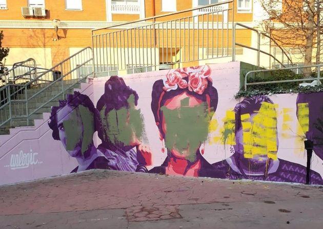 Amanece vandalizada la réplica del mural feministra de Ciudad Lineal en Getafe que se pintó hace tres