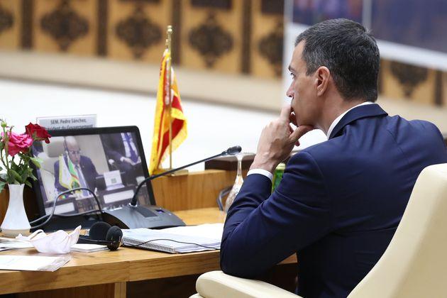 El presidente del Gobierno, Pedro Sánchez, en la última cumbre del G5 Sahel, en junio de 2020 en