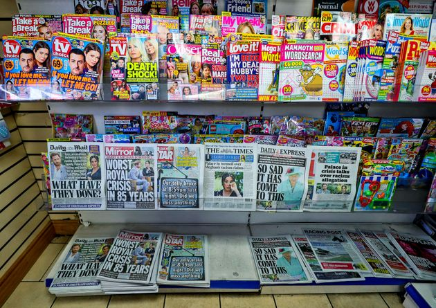 A general view of a newspaper stand in a local shop in Liverpool, showing the front pages of the papers...