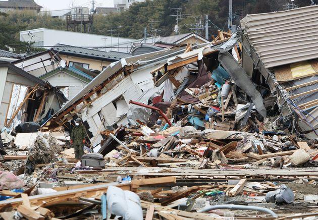 地震で大きな被害を受けた石巻市の門脇地区(2011年3月21日撮影)