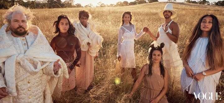 The Australian cast of 'Hamilton' in the March issue of Vogue Australia.