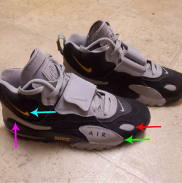 Authorities believe the individual was wearing a pair of black and gray Nike Air Max Speed Turf shoes, like the ones pictured