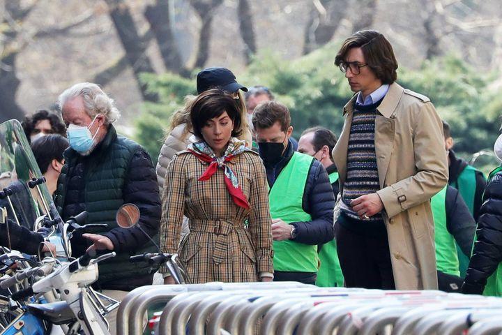 Lady Gaga y Adam Driver durante el rodaje.