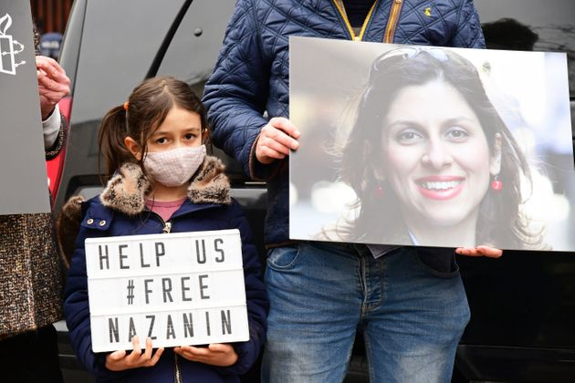 Nazanin Zaghari-Ratcliffe's daughter Gabriella at a protest outside the Iranian Embassy in