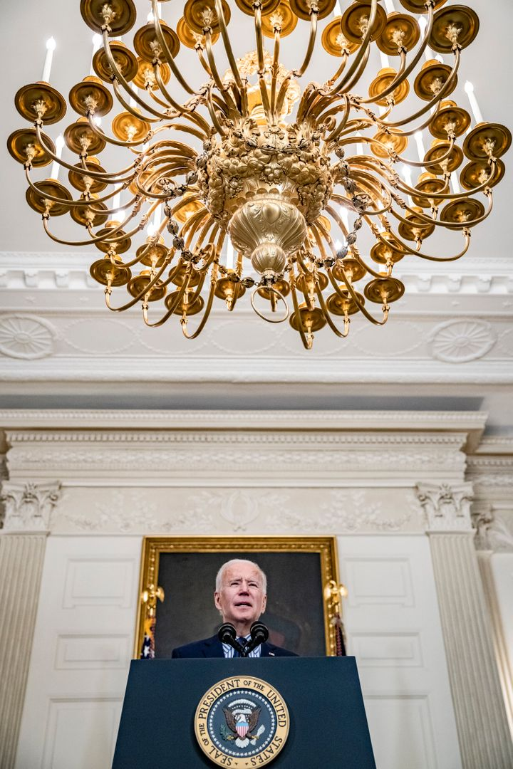 President Joe Biden speaks from the State Dining Room following the passage of the American Rescue Plan in the U.S. Senate at