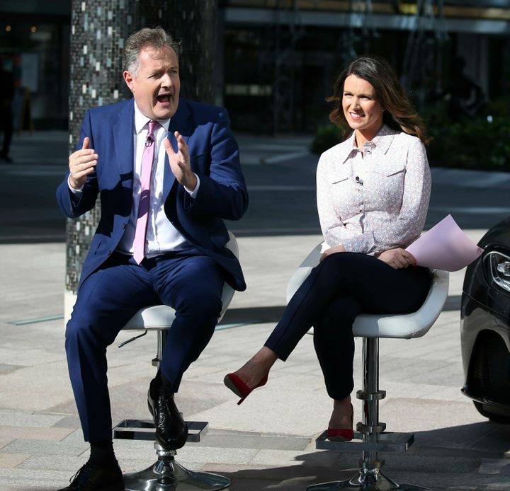 Piers Morgan and Susanna Reid are seen in London, England, July 2, 2019.